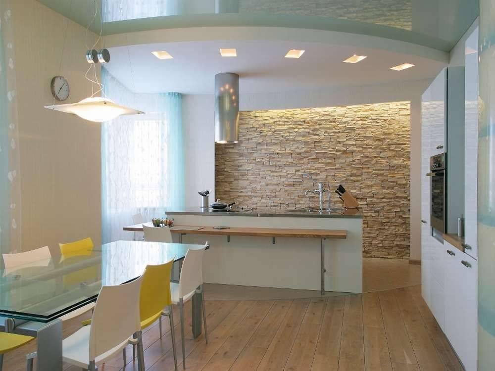 Потолки из гипсокартона на кухне (75 фото): двухуровневые подвесные гипсокартонные потолки в дизайне кухни, варианты фигур на потолке