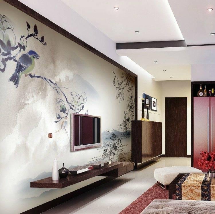Красивые рисунки в интерьере квартиры на стене своими руками: сакура, роспись и геометрия