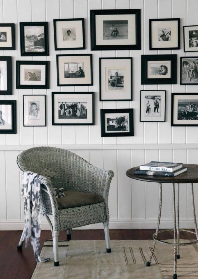 Оформление стены фотографиями: дизайн, расположение, тематика, фото в интерьере комнат