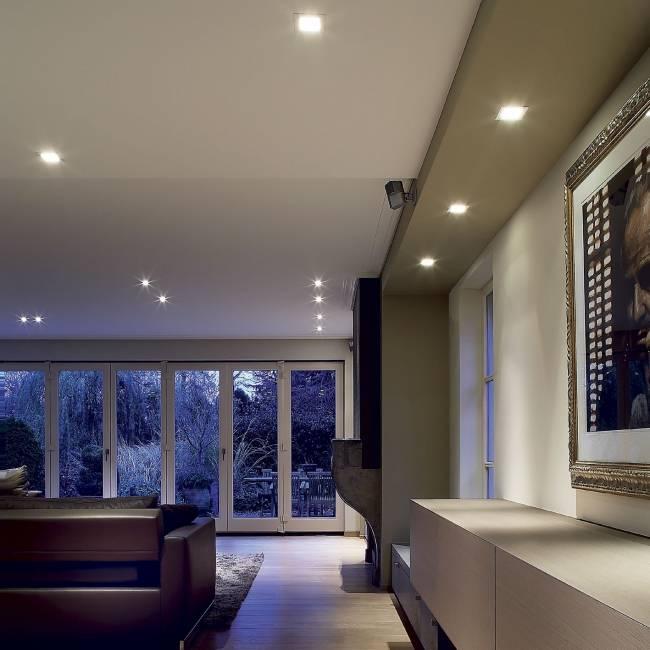 Размеры точечных светильников для подвесных потолков: диаметр и высота