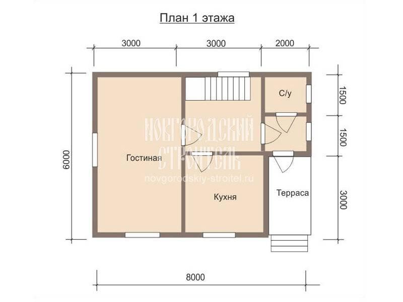 2021 ᐈ ???? (+35 фото) планировка дома 6 на 8 с мансардой