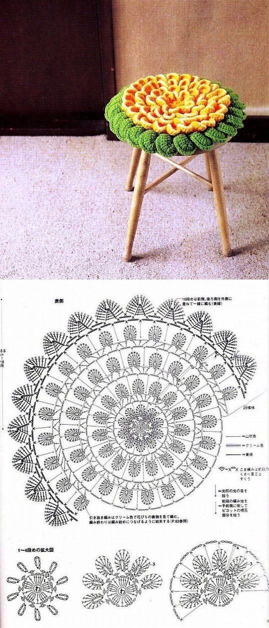 Сидушки крючком на стулья и табуреты в интересной технике
