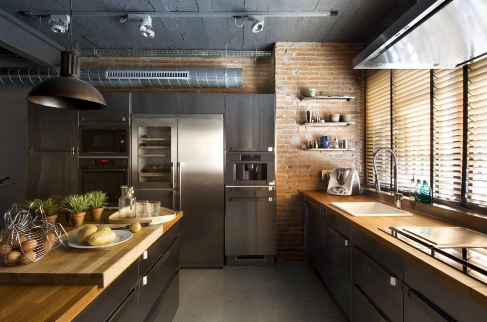 Кухня в стиле лофт - удачные идеи и стильные примеры оригинального оформления (185 фото)