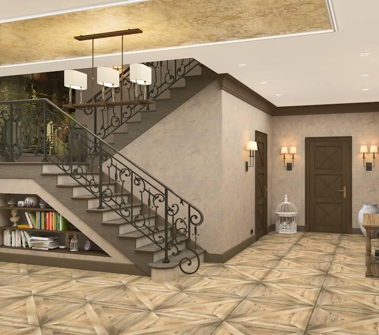 Дизайн холла с лестницей на второй этаж
