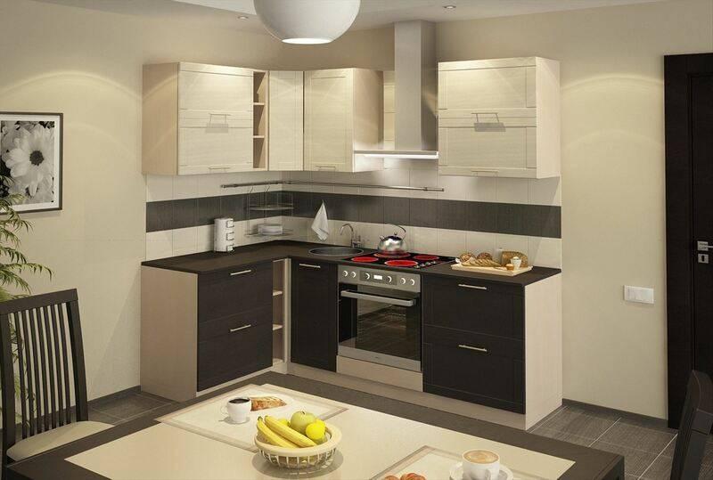 Оранжевая с венге кухня 9 кв.м (12 фото)
