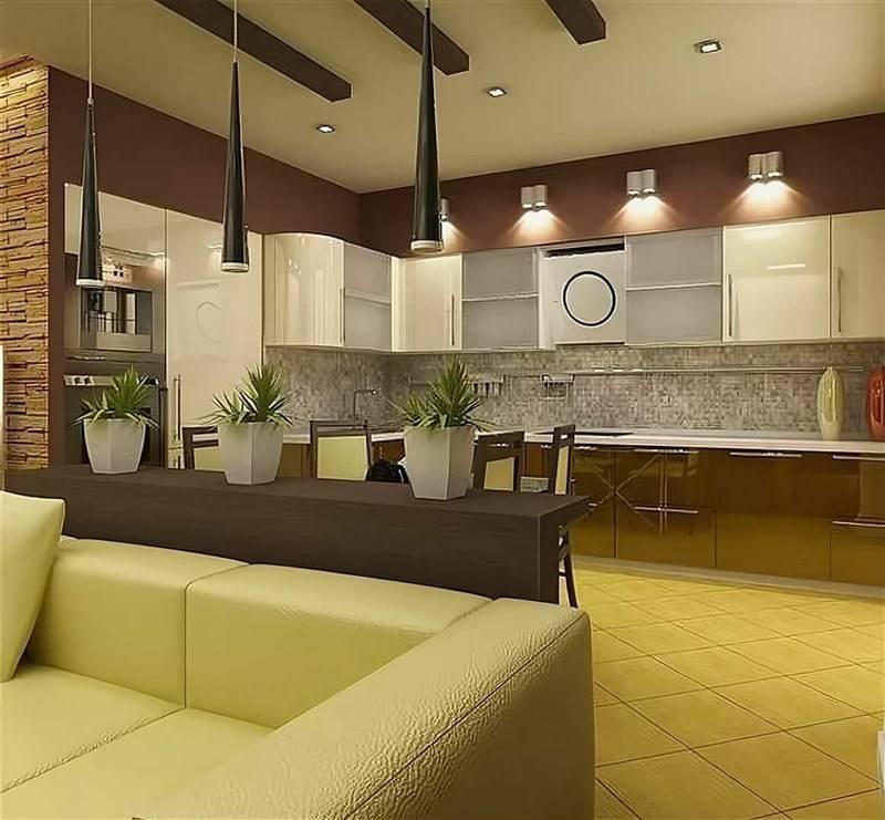 Дизайн гостиной, совмещенной с кухней: особенности, фото, идеи