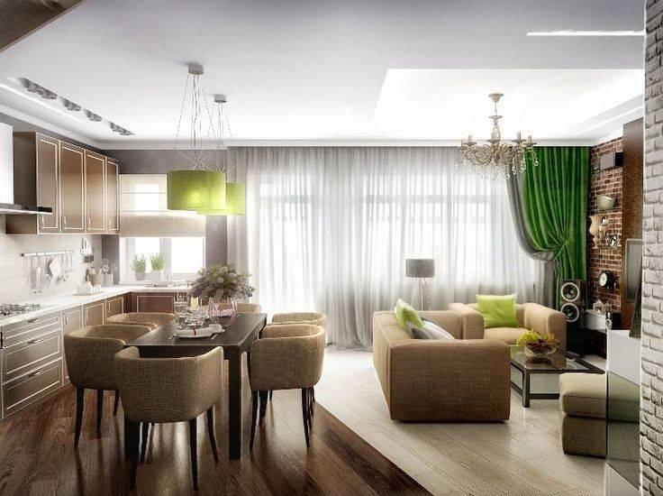 Дизайн кухни-гостиной 30 кв.м с зонированием в частном доме и квартире
