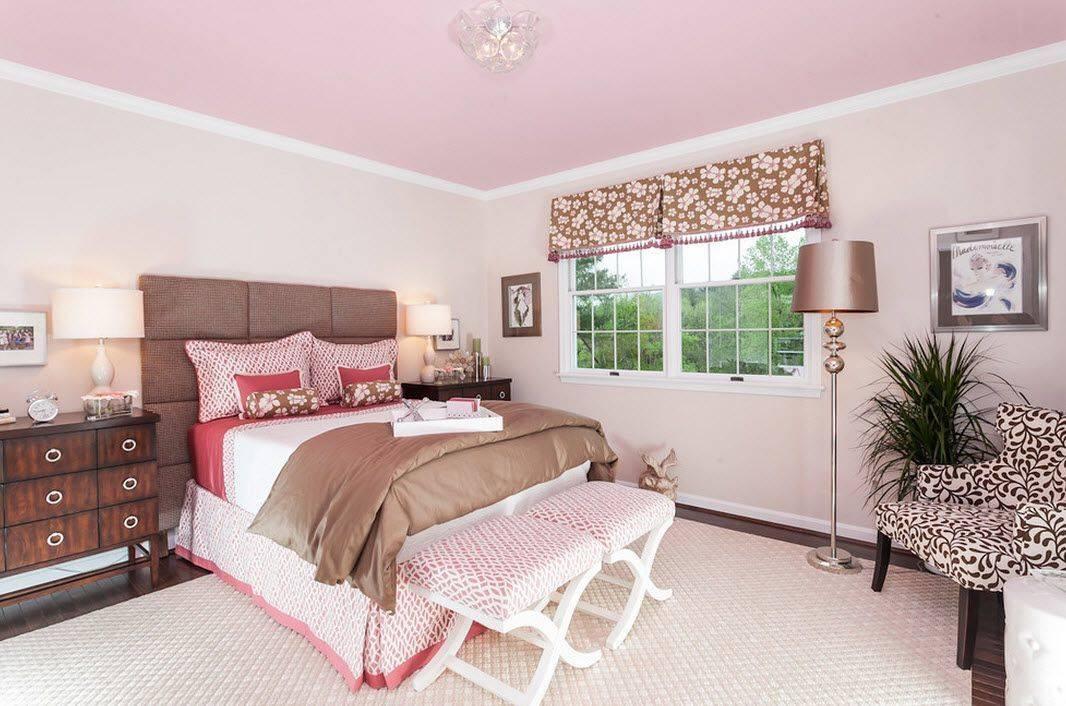 Спальная комната в розовом цвете — дизайн