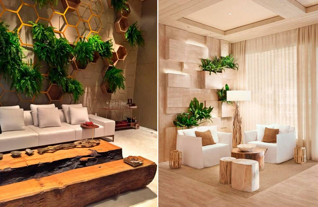 Экостиль в интерьере гостиной, офиса, эко стена - 36 фото