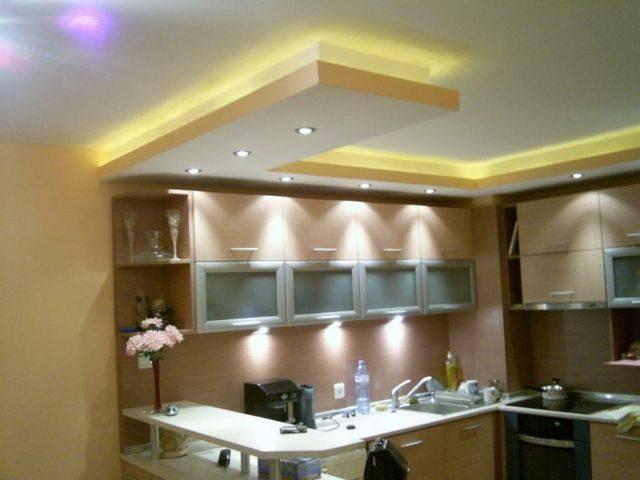 Фото кухонных подвесных потолков из гипсокартона: как выделить зоны на кухне, фото потолков