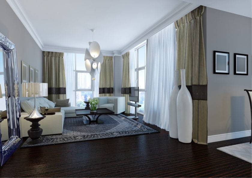 Шторы в гостиную в современном стиле: дизайн занавесок и портьер, легкие и стильные варианты  - 33 фото
