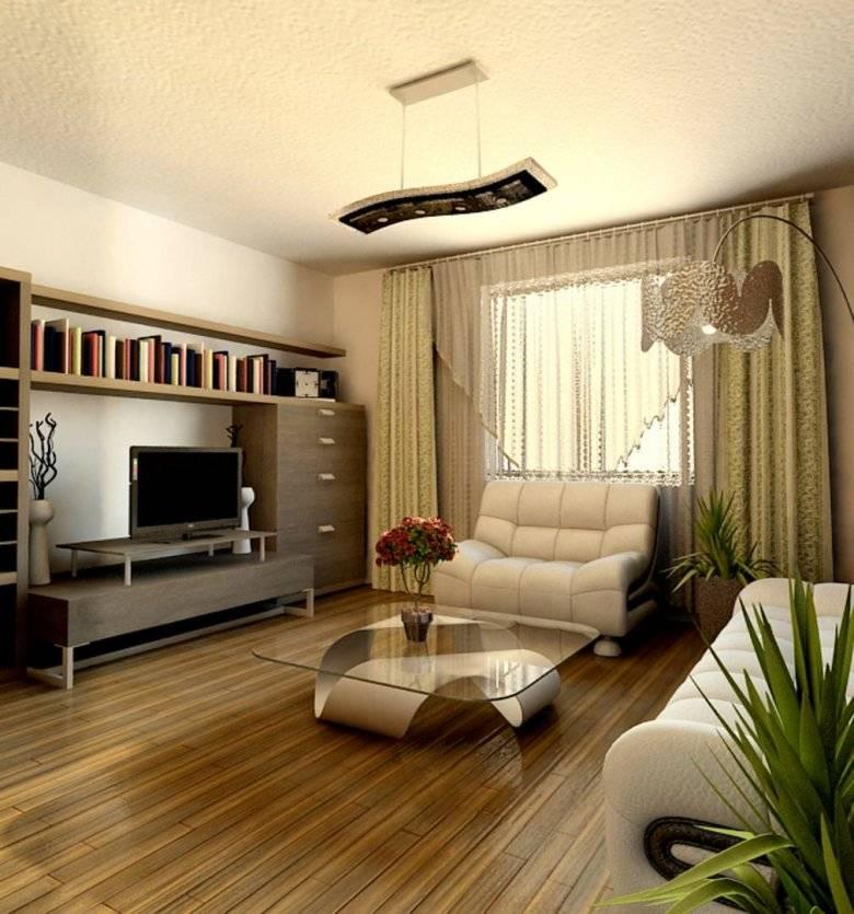Интерьер зала: дизайн в частном доме в современном стиле, красивая и уютная гостиная с двумя окнами для небогатых в сельской местности  - 58 фото