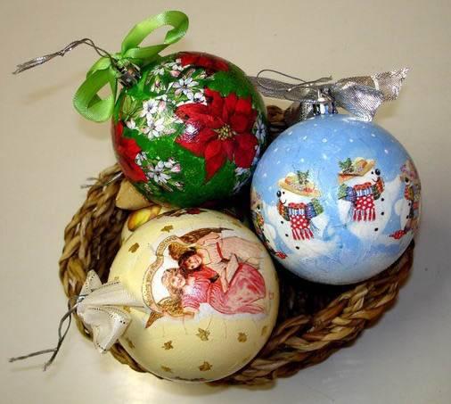 Декупаж новогодних шаров своими руками пошаговая инструкция