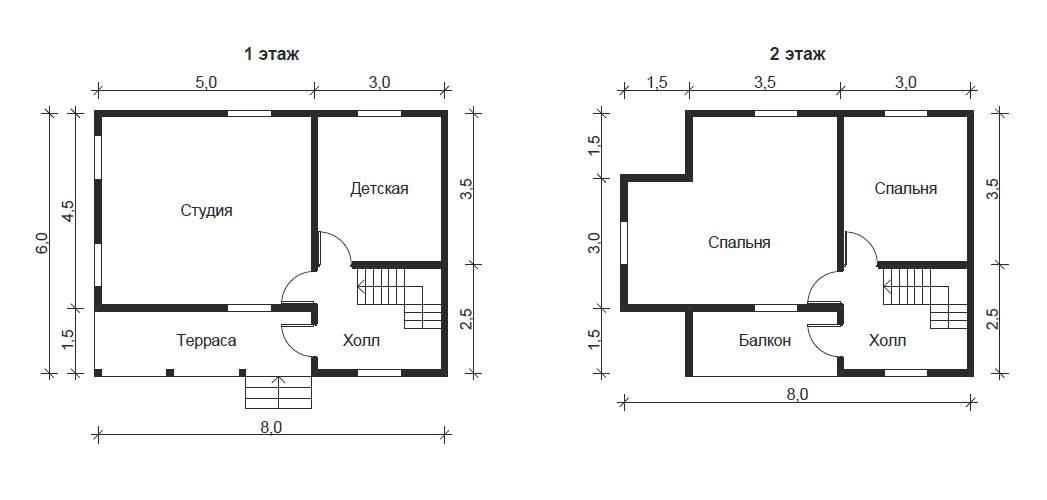 Дом 6 на 8. планировка одноэтажного дома 6х8