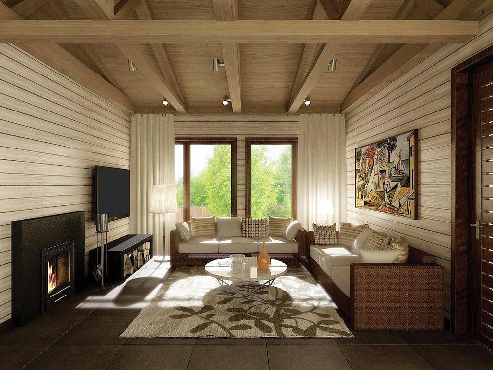 Гостиная в деревянном доме: дизайн и интерьер, фото современных идей