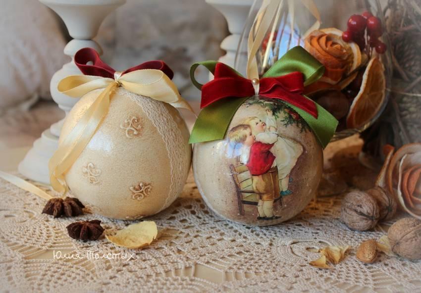 Декупаж новогодних шаров своими руками: мастер класс и советы начинающим