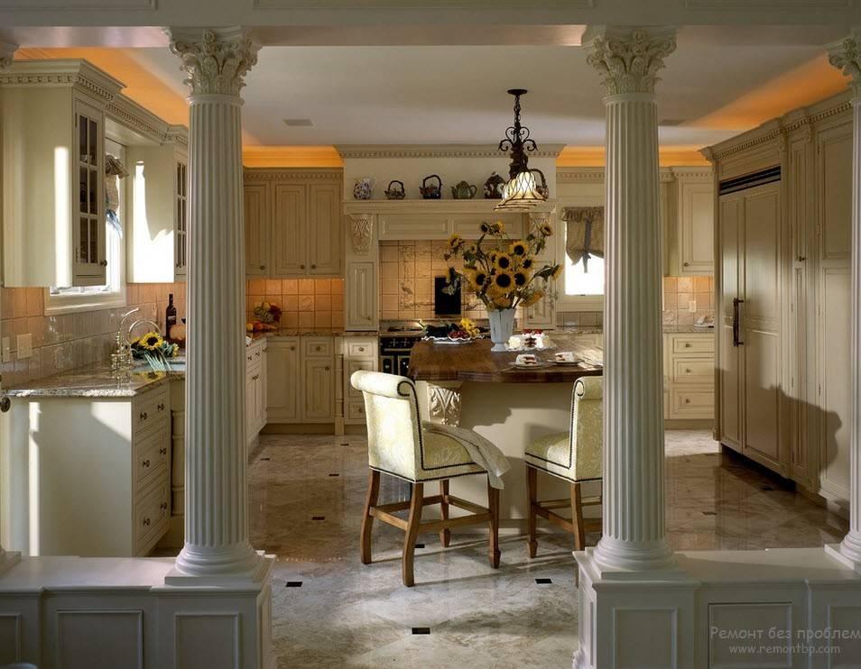 Колонны в интерьере квартиры, классические и современные элементы отделки и красивое декорирование