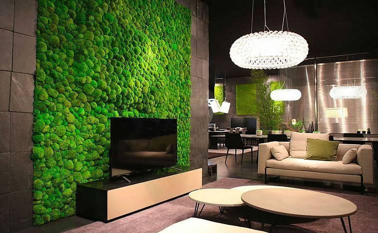 Стабилизированный мох в дизайне интерьеров: идеи применения, уход и эксплуатация