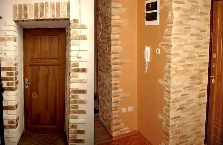 Отделка прихожей декоративным камнем и обоями: фото уникальных решений