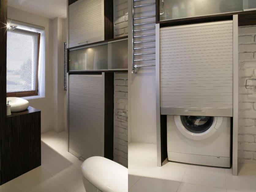 Стиральная машинка в ванной комнате - дизайн, варианты размещения, подвод коммуникаций и особенности сочетания с дизайном интерьера