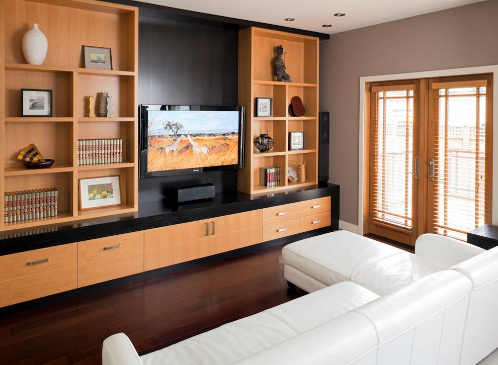 Современный дизайн длинной и узкой гостиной