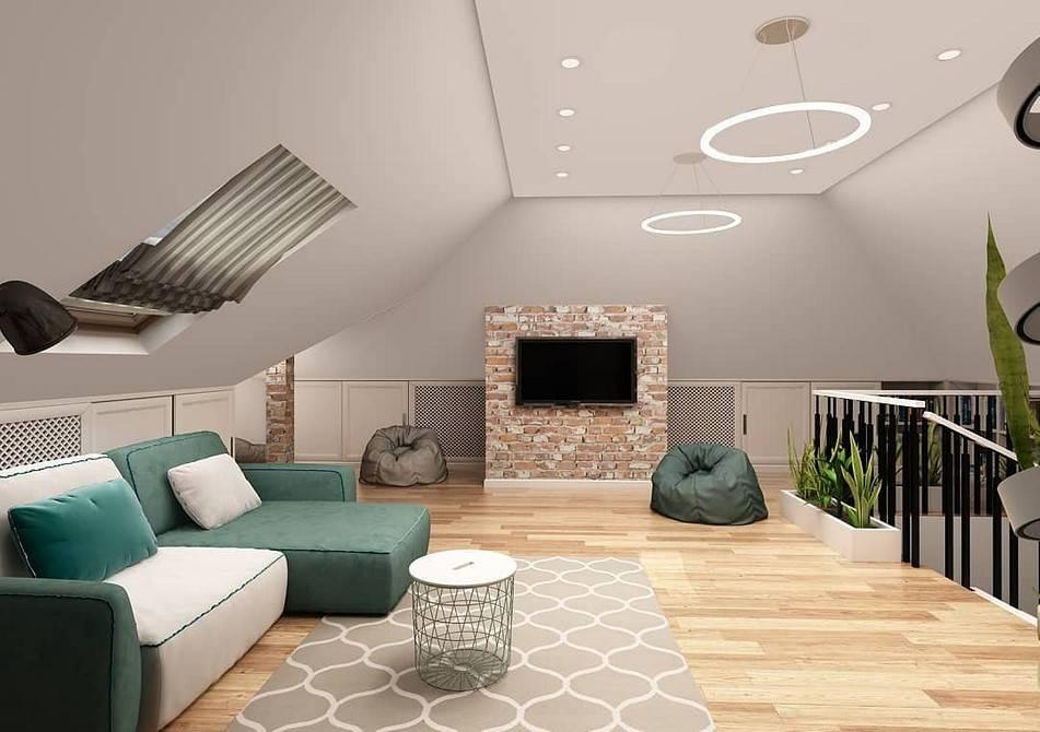 Дизайн интерьера мансарды в частном доме