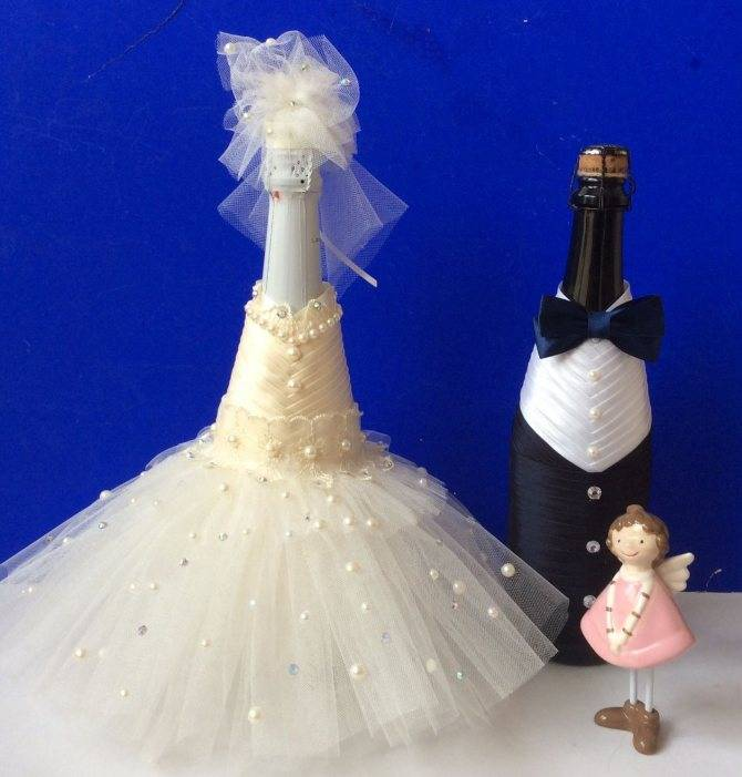 (+106 фото) декор свадебных бутылок своими руками