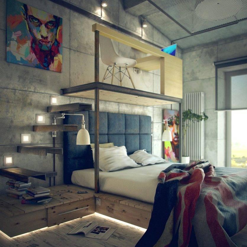 Спальня в стиле лофт: лучшие идеи для отделки, зонирования и декора