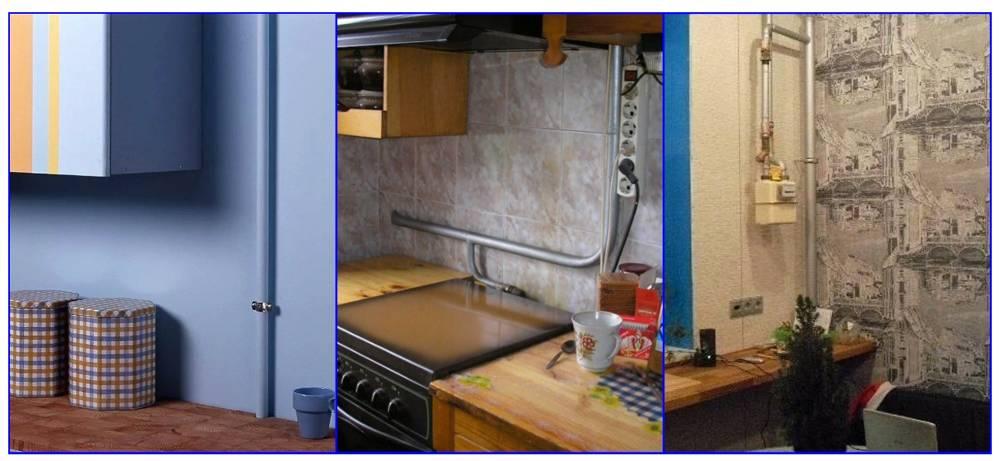 Как спрятать газовую трубу на кухне — различные законные варианты