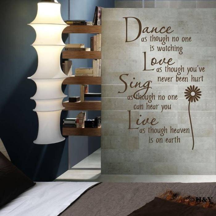 Надписи на стену: смешные, со смыслом, из дерева, объемные, наклейки, на кухню и другие варианты с фото