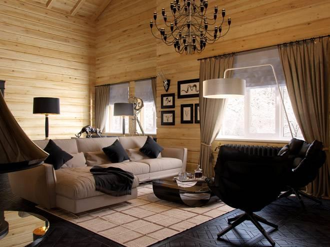 Интерьер дома из клееного бруса в современном стиле