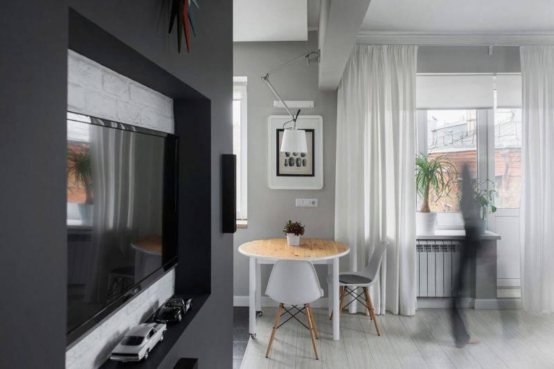 Дизайн однокомнатной квартиры 30 кв.м в современном стиле: фото 2020