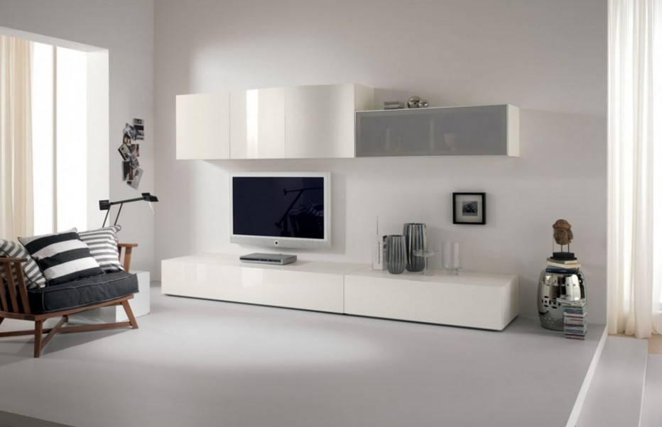 Белая стенка в гостиную: советы по выбору современной мебели