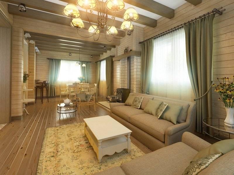 Интерьер деревянного дома внутри - фото домов из бруса и бревна, стили