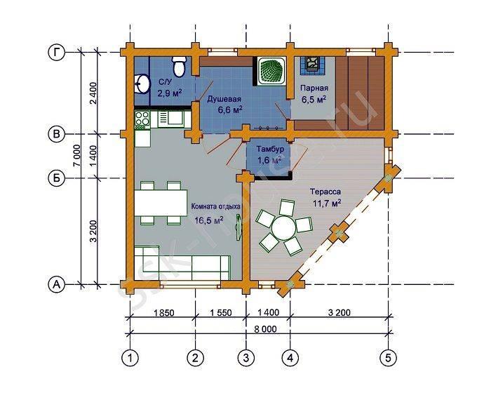 Бани 6х4 (67 фото): проекты и планировка бани внутри, бани с террасой и мансардой, с мойкой и парилкой отдельно, другие планы