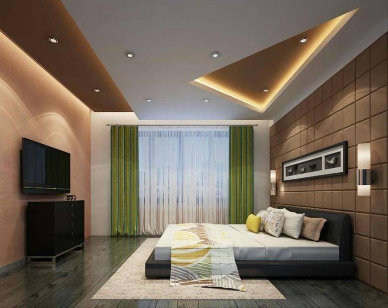 Преимущества гипсокартона для отделки потолка спальни, разновидности и стилевые решения потолочных конструкций - 27 фото
