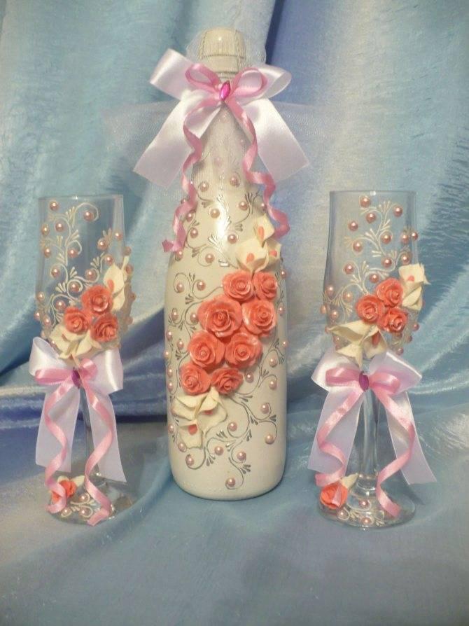 Оформление свадебных бутылок шампанского своими руками. как украсить шампанское на свадьбу