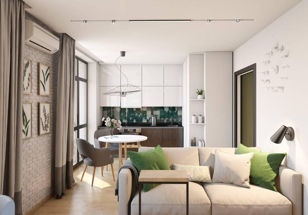 Дизайн квартиры 45 кв. м. 75 фото 1, 2 комнатных и студии