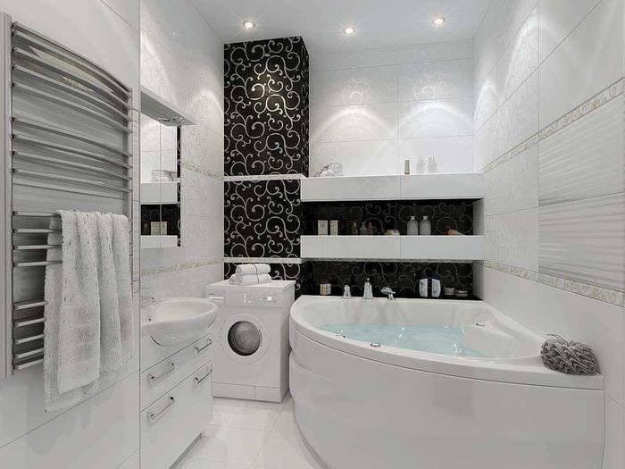 Черно-белая ванная комната: плюсы и минусы, особенности отделки помещения