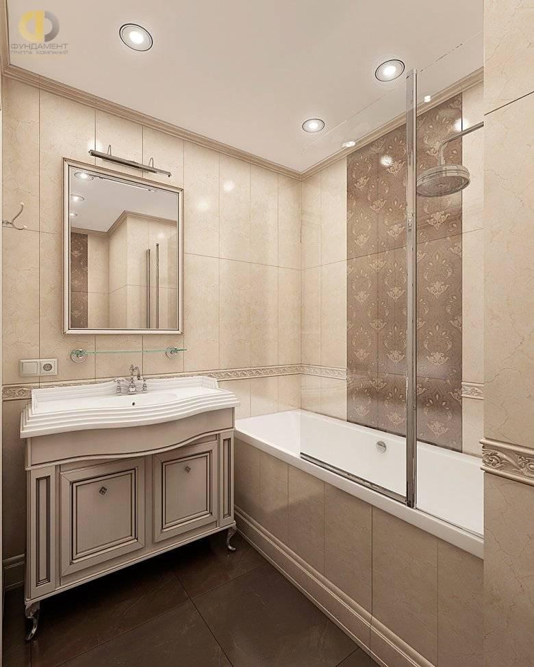 Дизайн ванной в коричнево-бежевых тонах, фото