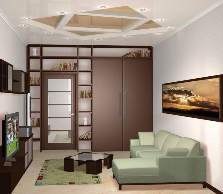 Дизайн гостиной 18 кв.м фото с кухней и спальней и детской