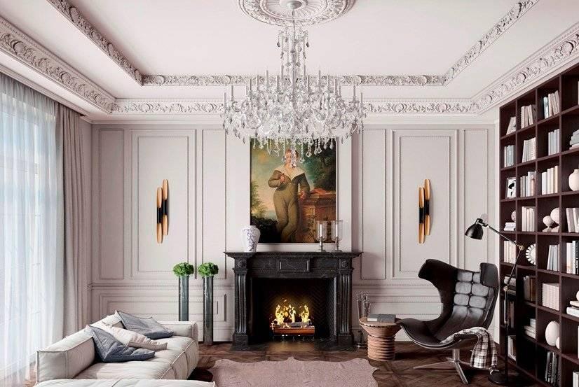 Лепнина на стене в интерьере квартир, варианты оформления на стенах из гипса и полиуретана с фото