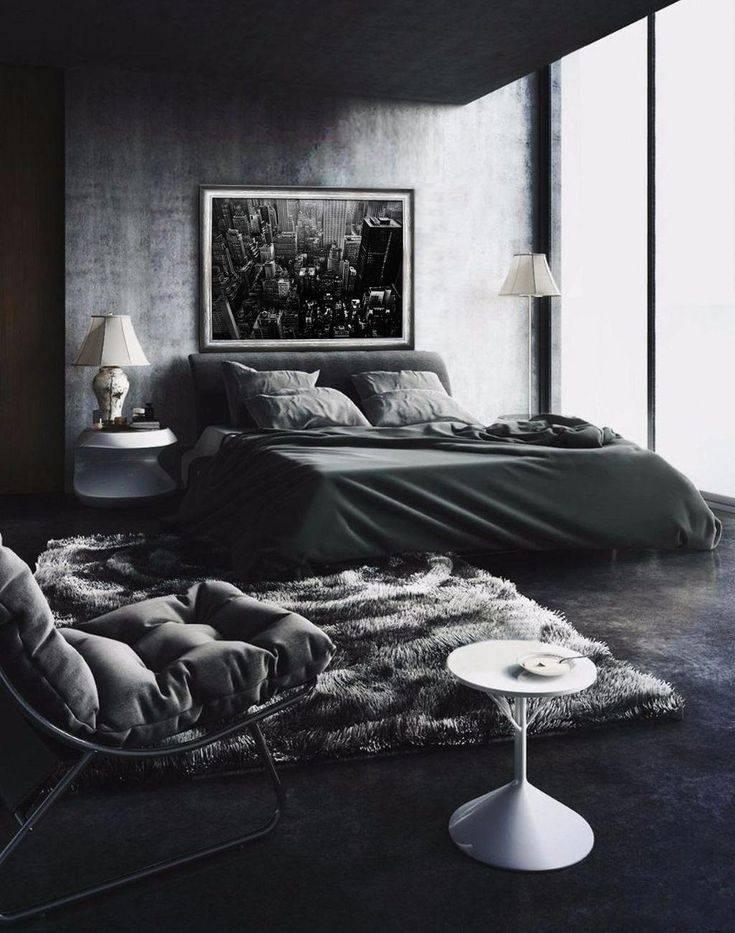 Оформление спальной комнаты в черном цвете