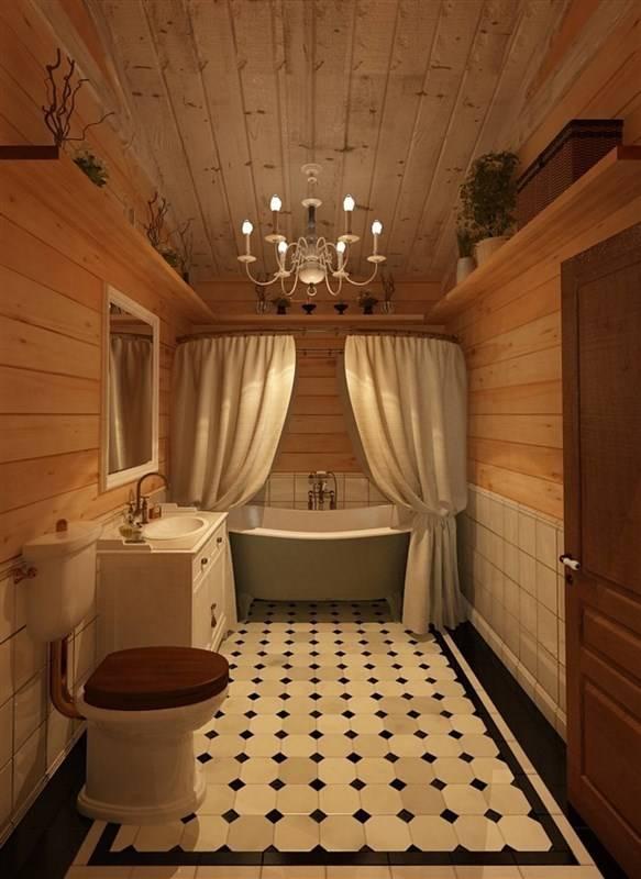 Дизайн ванной комнаты в деревянном доме из бруса с фото