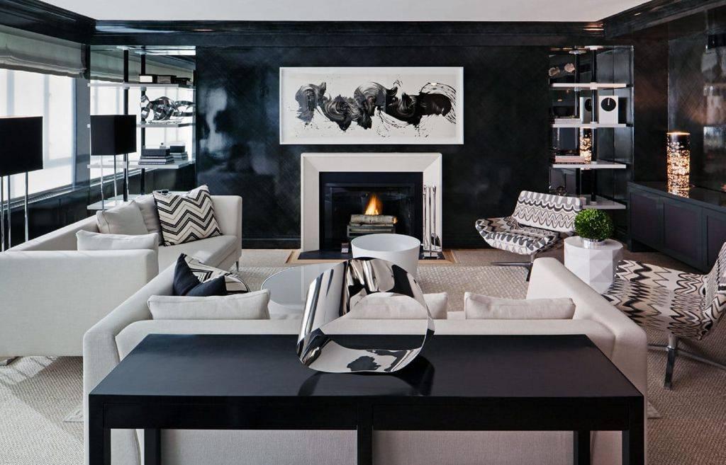 Черно-белая гостиная: оформление дизайна интерьера в помещении, фото примеров