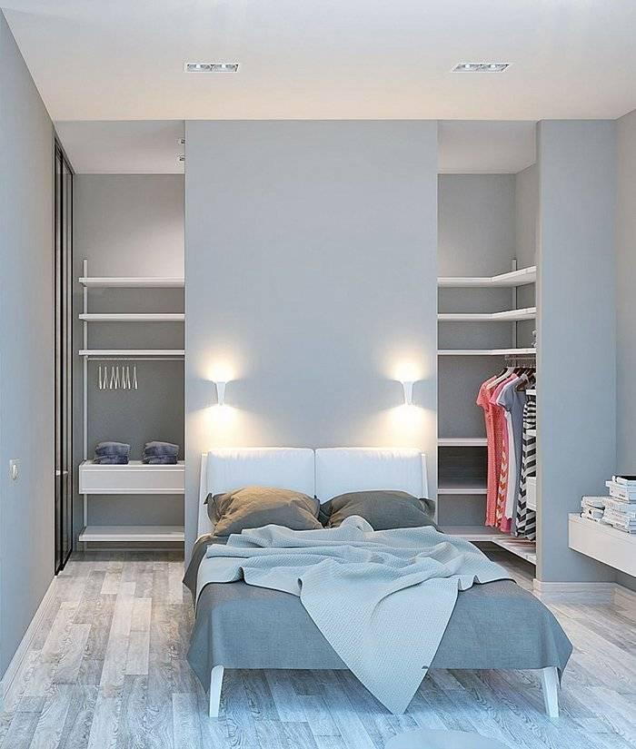 Спальня с гардеробной небольшого размера: угловая планировка в современном стиле  - 26 фото