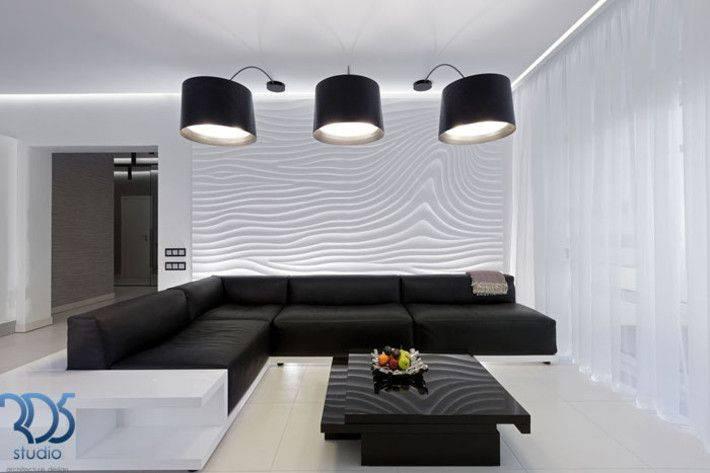 Лаконичный минимализм на просторах гостиной