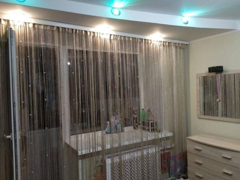 Нитяные шторы в интерьере кухни: виды, плюсы и минусы