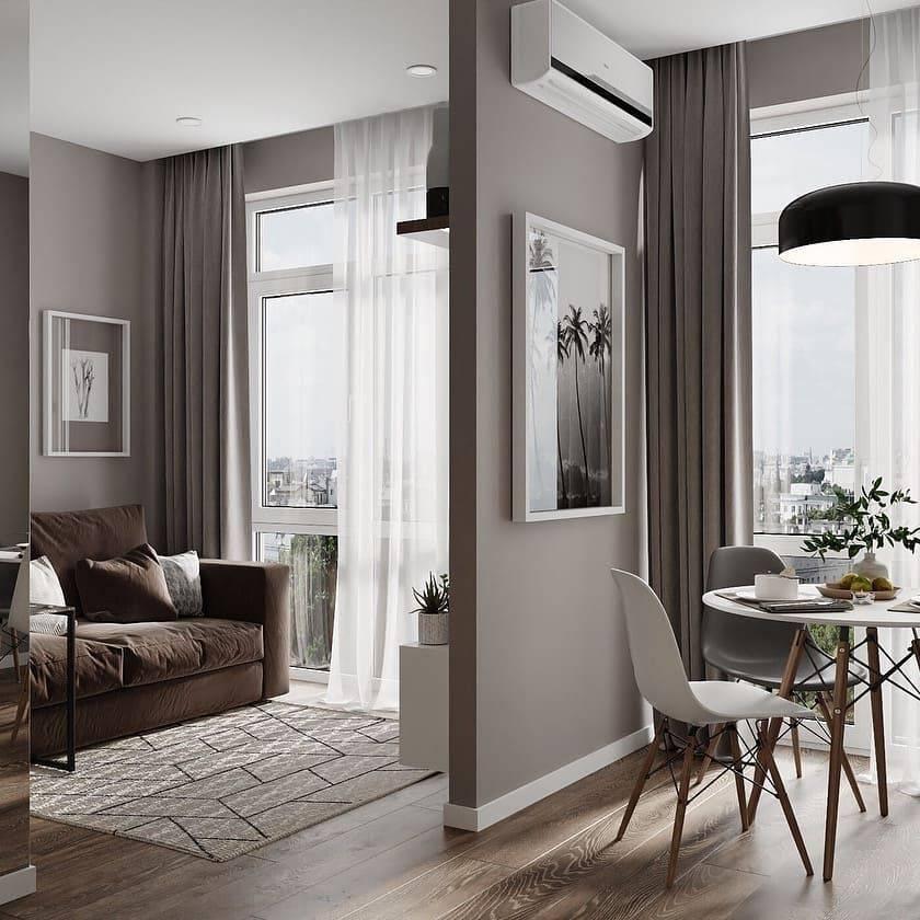Дизайн квартиры-студии 30 кв. м (100 фото): планировка, проекты и ремонт, варианты интерьера, зонирование прямоугольных студий с балконом и других