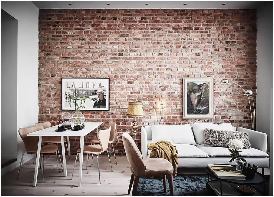 Кирпичная стена в интерьере — идеи применения